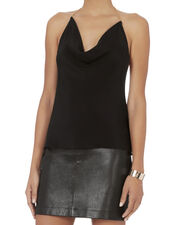 Gold Chain Halter Crepe Top, BLACK, hi-res