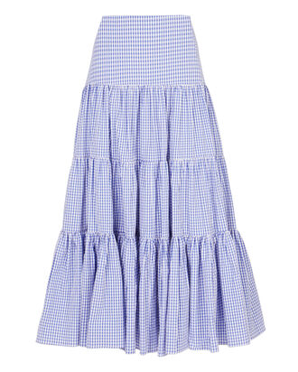 Gingham Peasant Maxi Skirt, BLUE, hi-res