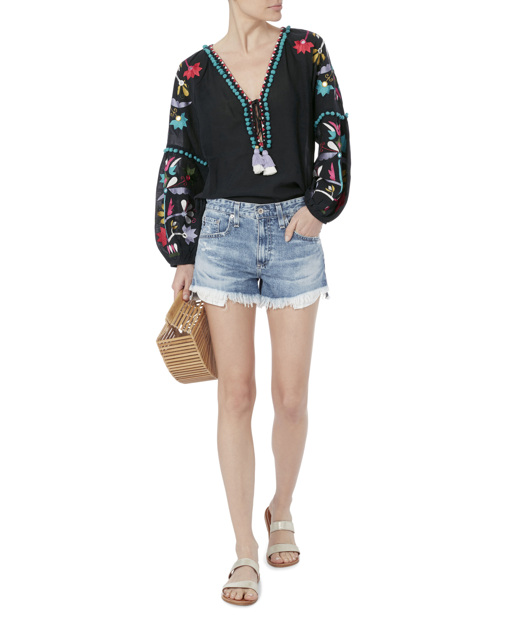 Victoria Embroidered Blouse, NAVY, hi-res