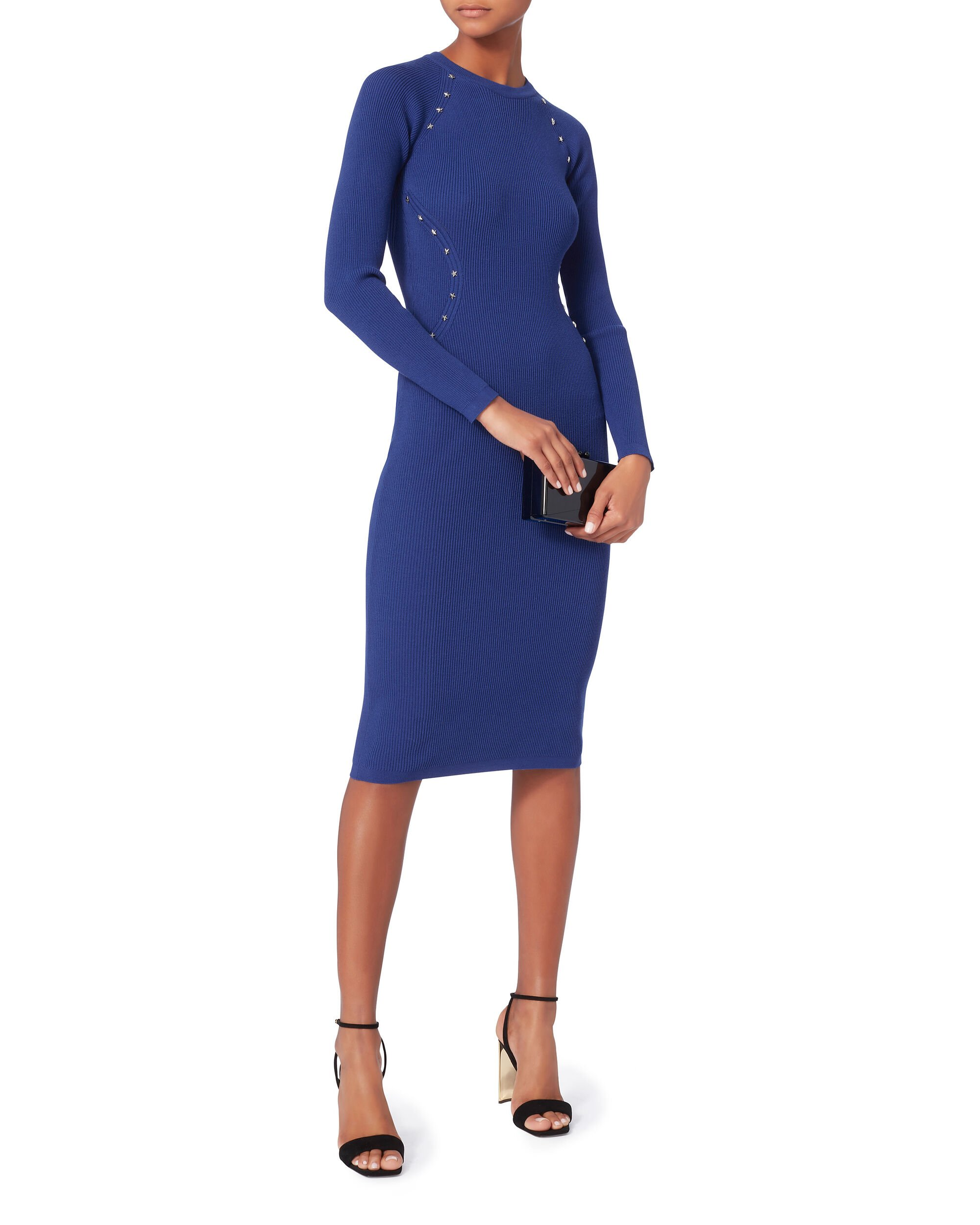 Star Ribbed Knit Dress, BLUE, hi-res