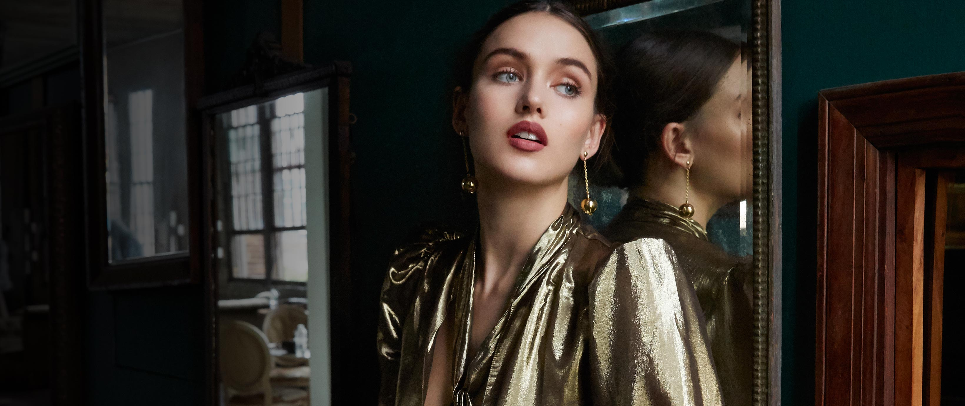Shine Factor: Metallics feel fresh and elevated in luxe fabrics and sophisticated silhouettes