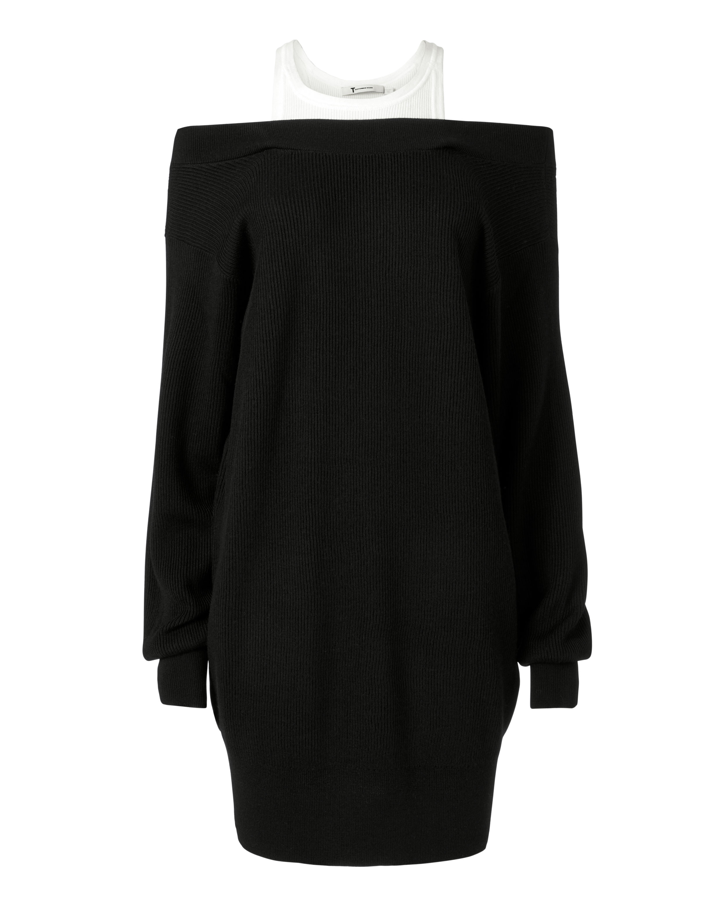 Off-the-shoulder Layered Ribbed Merino Wool-blend And Cotton Mini Dress - Black Alexander Wang Supply JZlavfm
