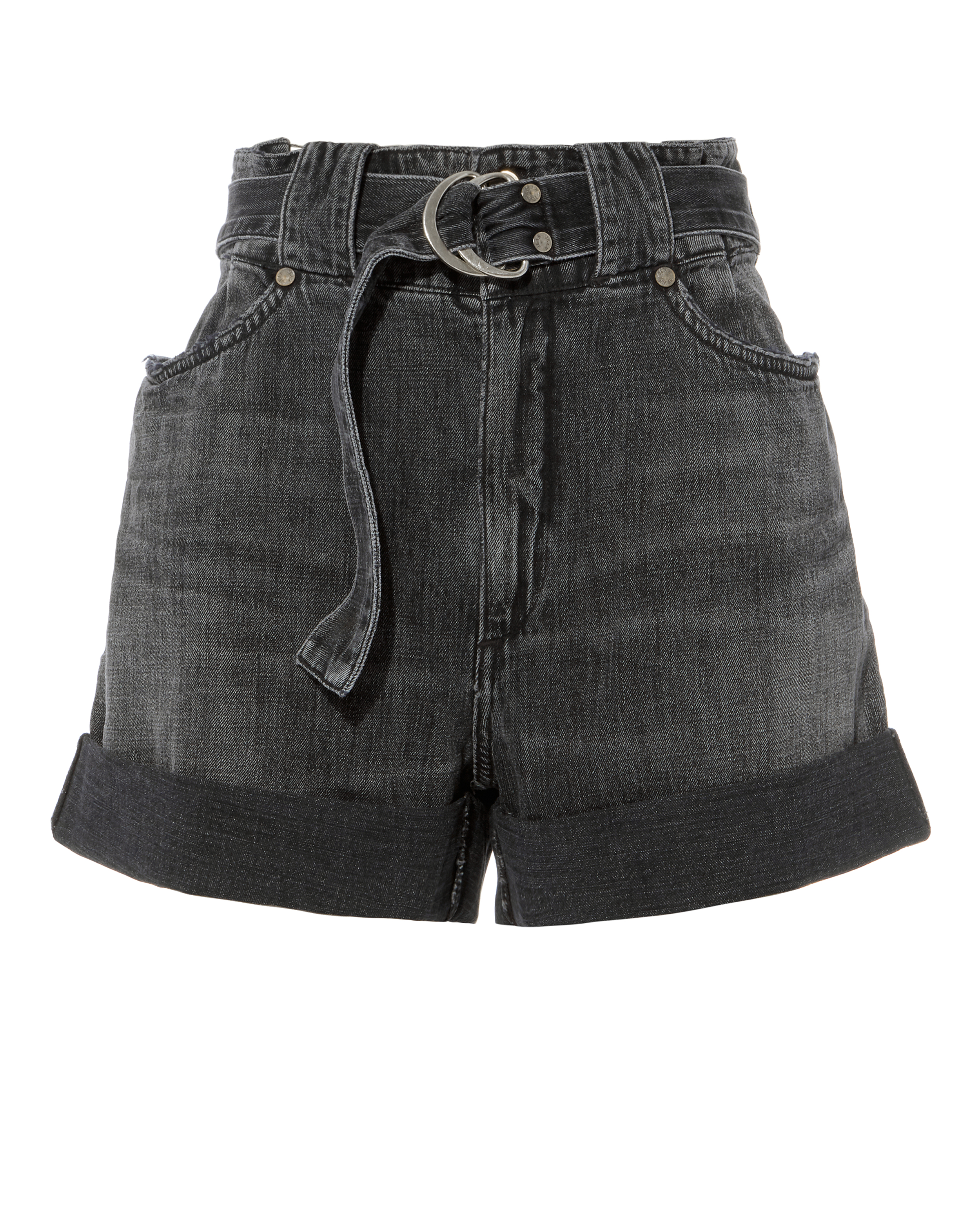 JEAN ATELIER CINCHED DENIM SHORTS GREY