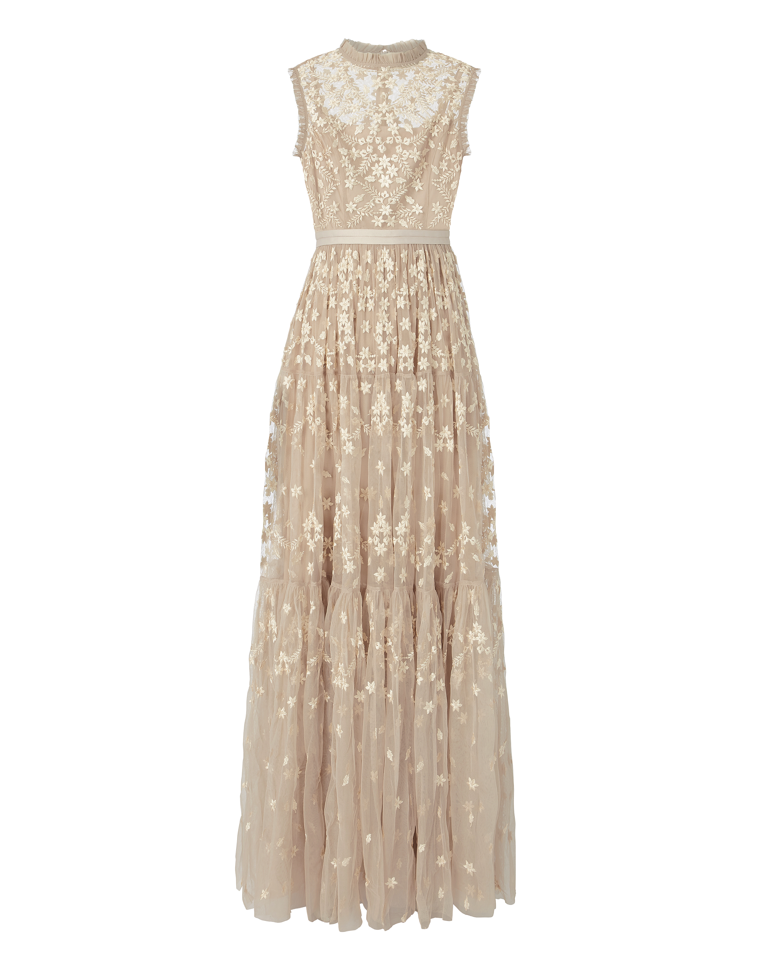 NEEDLE & THREAD Clover-Embellished Gown Beige | ModeSens