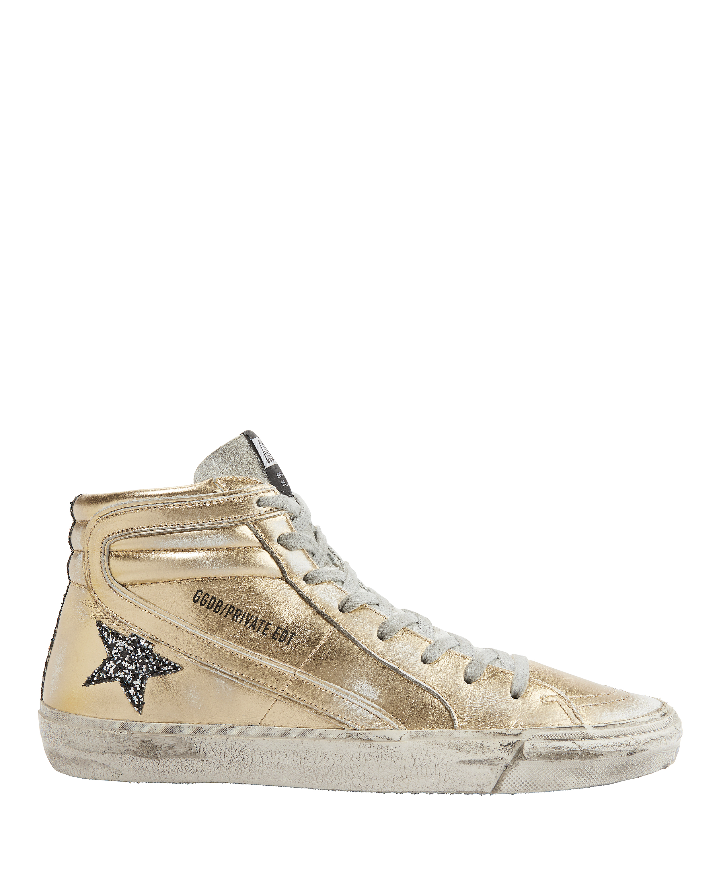 Slide Glitter Star Gold Leather High-Top Sneakers