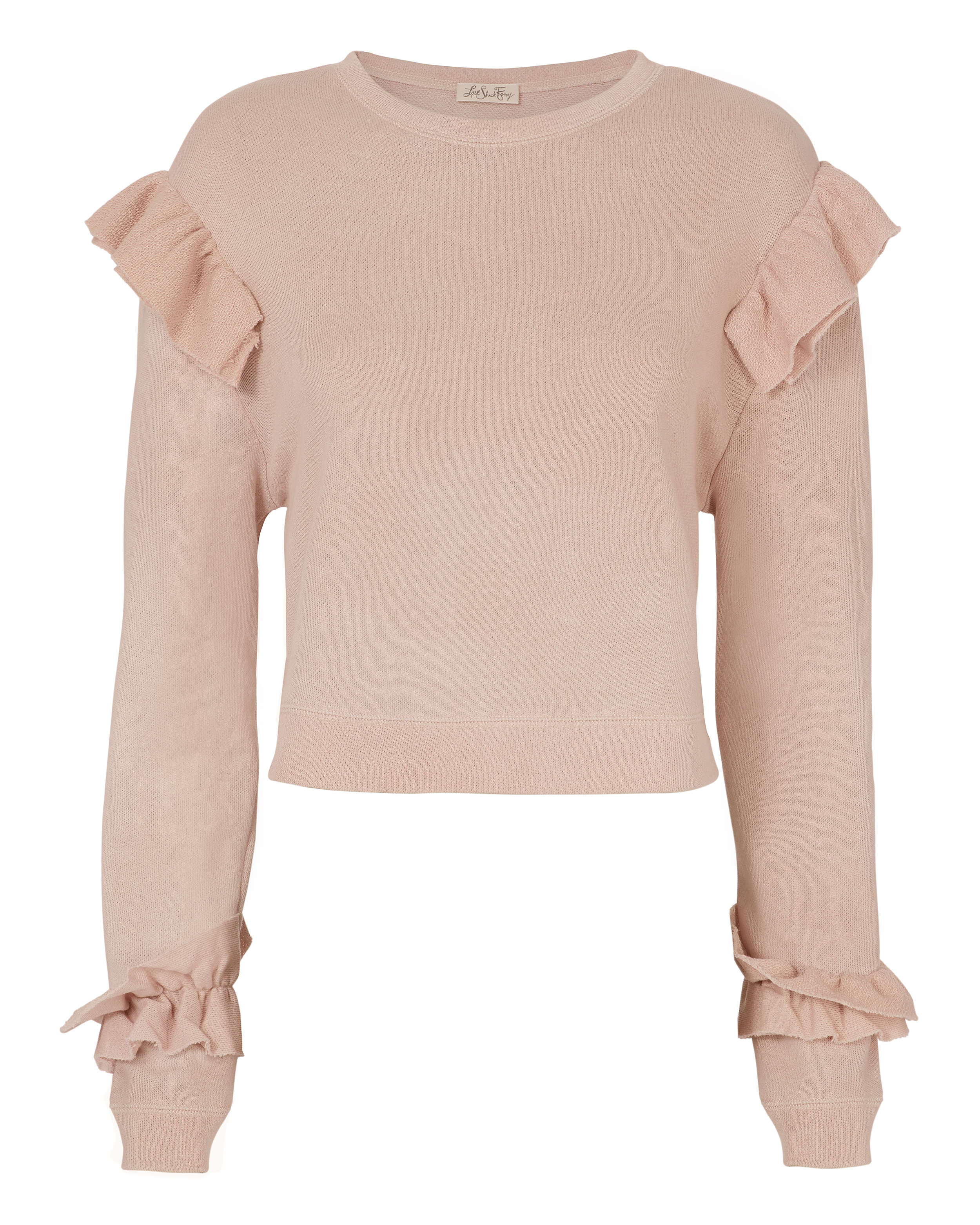 LOVE SHACK FANCY Pink Ruffle Sweatshirt