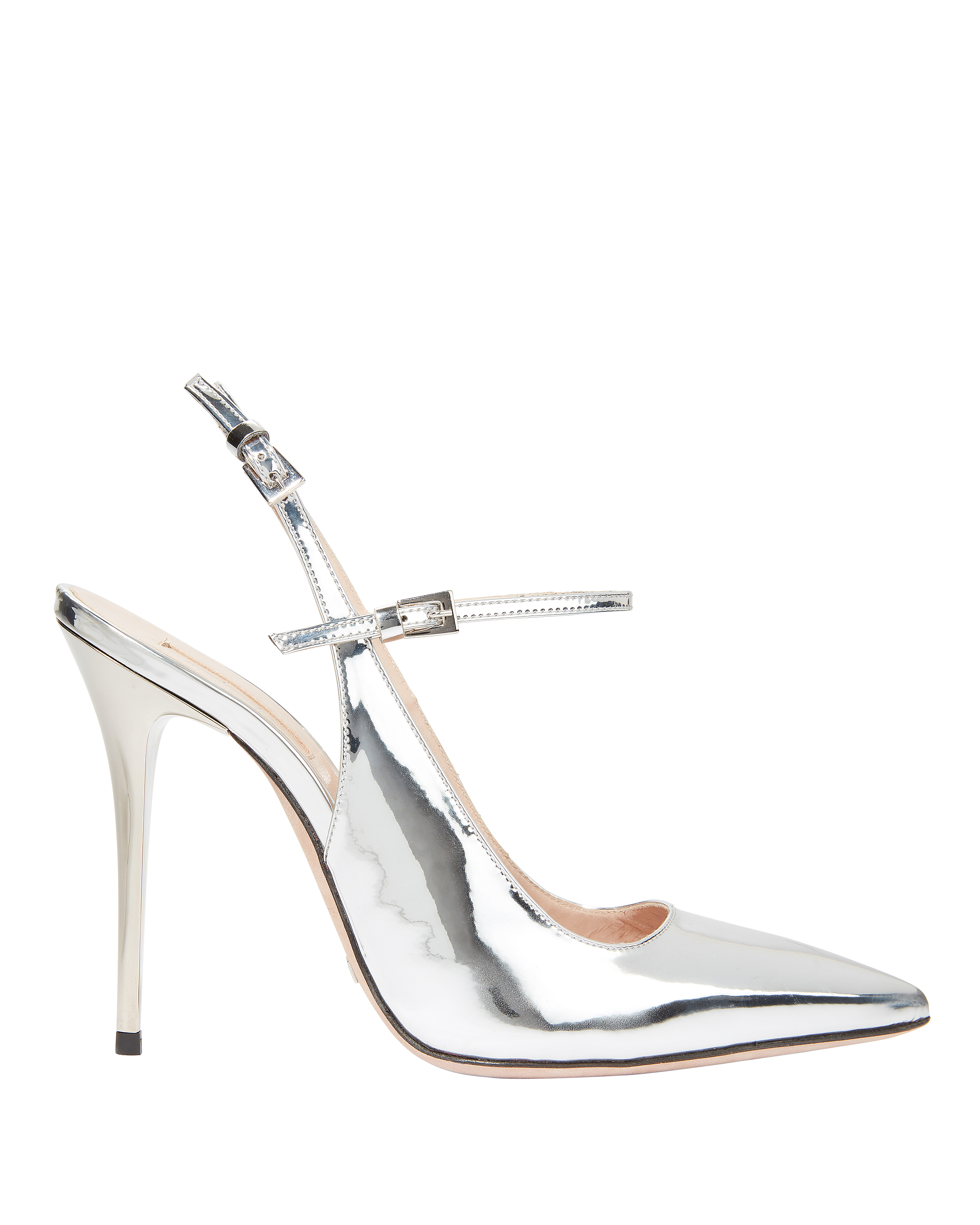 Silver Leather Slingback Sandals