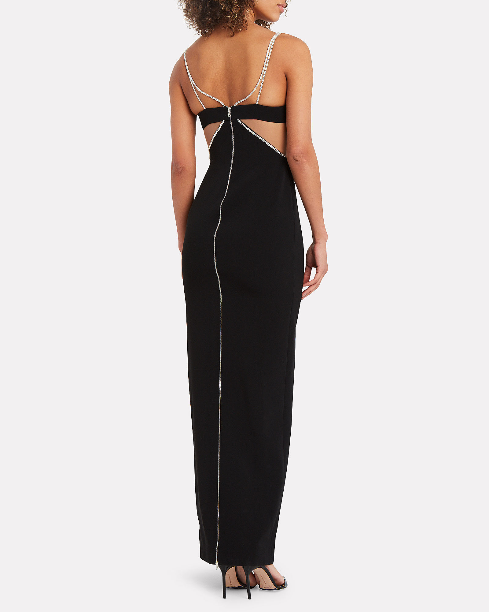 Crystal Cut-Out Gown, BLACK, hi-res