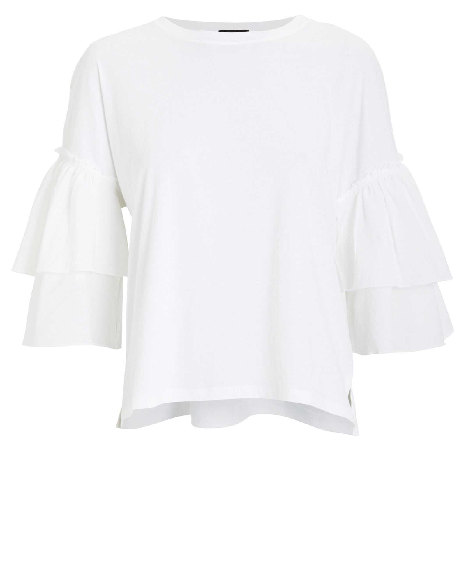 Mixed Media Ruffled Jersey Top, WHITE, hi-res