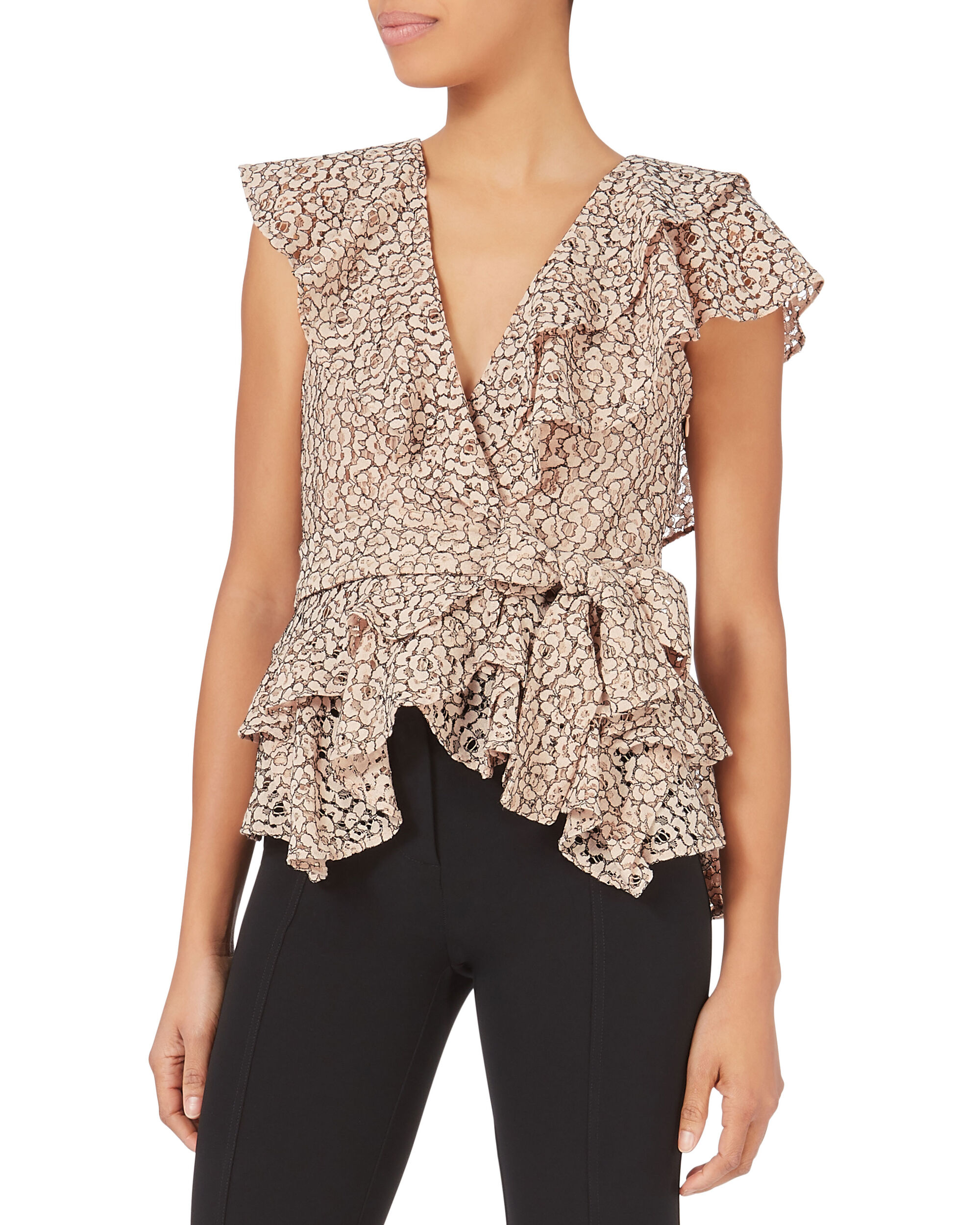 Maisie Lace Wrap Top, NUDE, hi-res