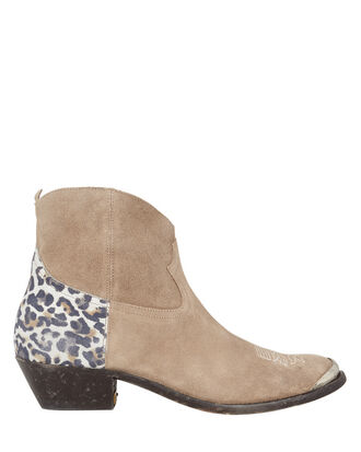 Young Western Brown Booties, TAN/LEOPARD, hi-res