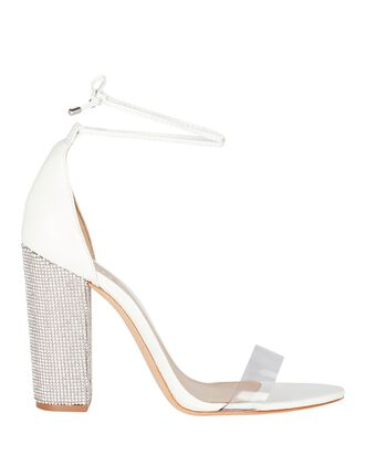 Anahe PVC Crystal Leather Wrap Sandals, WHITE, hi-res