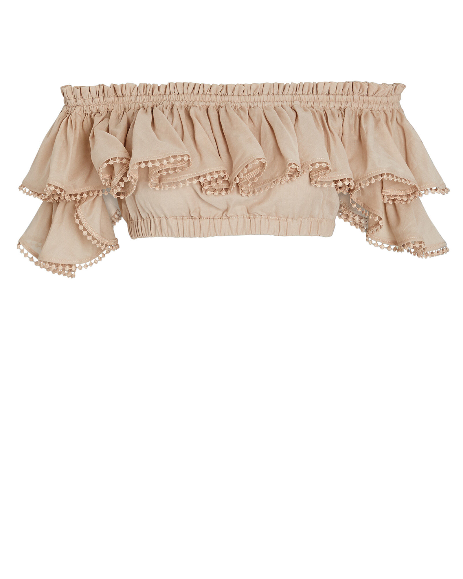 Cata Off-the-Shoulder Crop Top, BEIGE, hi-res