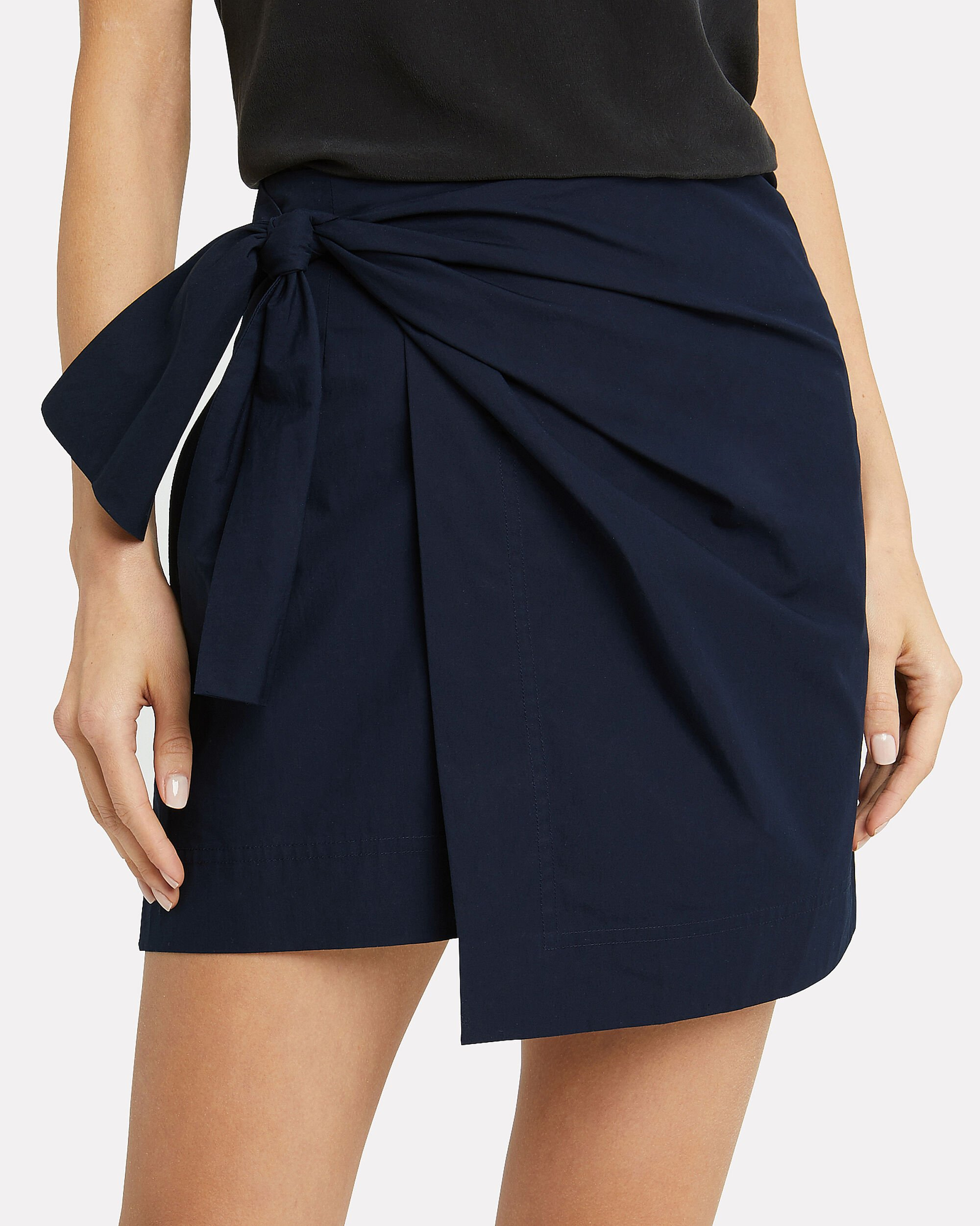 Knotted Wrap Mini Skirt, NAVY, hi-res