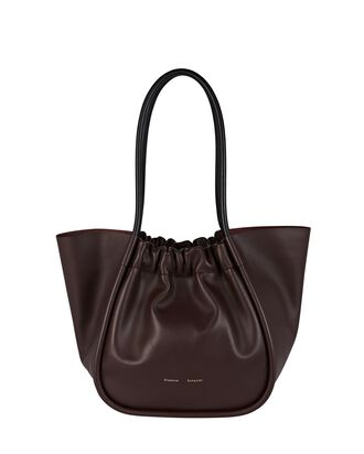 Ruched L Leather Tote, BURGUNDY, hi-res