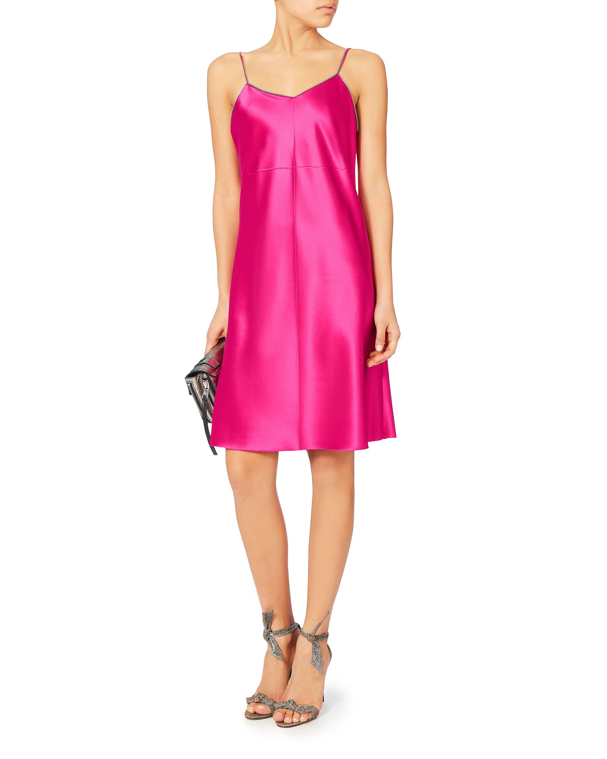 Zip Strap Pink Slip Dress, PINK, hi-res