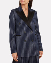 Himawari Lurex Striped Wool-Blend Blazer, NAVY, hi-res