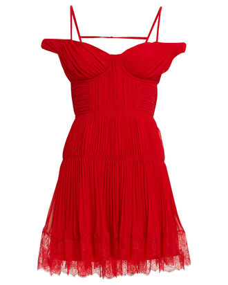 Pleated Chiffon Cold Shoulder Dress, RED-DRK, hi-res