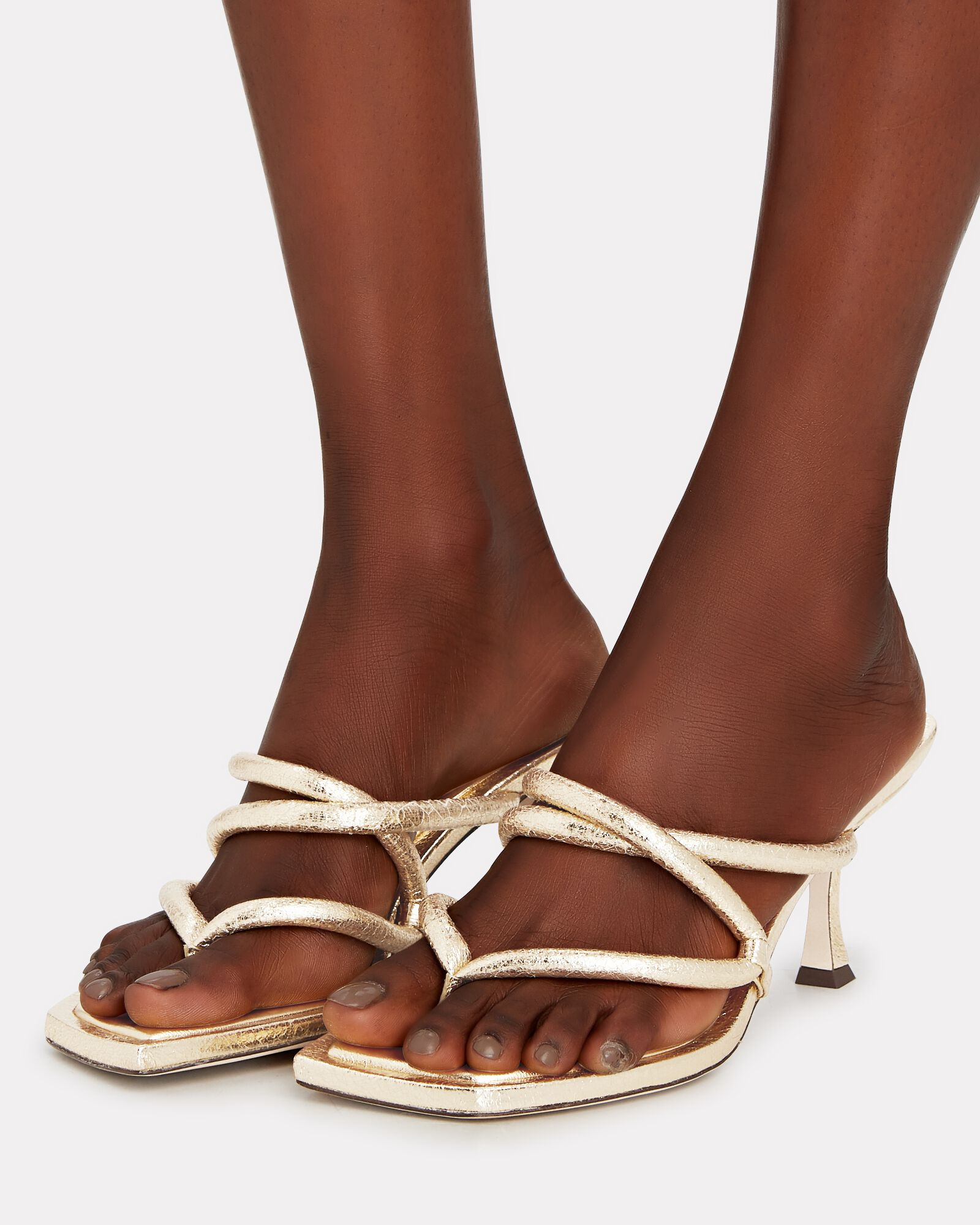 Cape 70 Puffy Leather Thong Sandals, GOLD, hi-res
