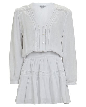 Jasmine Smocked Mini Dress, WHITE, hi-res