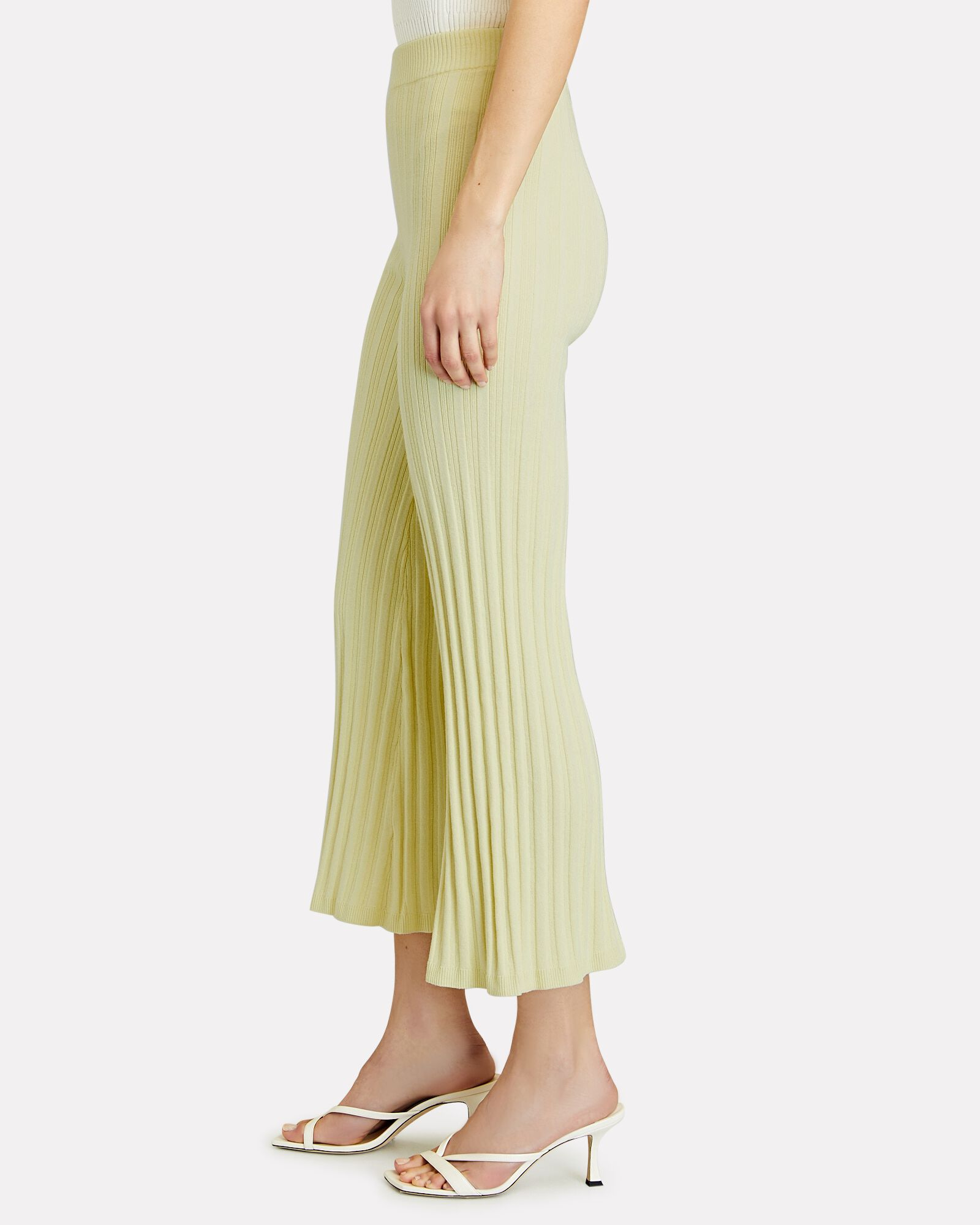 Xiomara Cropped Rib Knit Pants, PALE YELLOW, hi-res