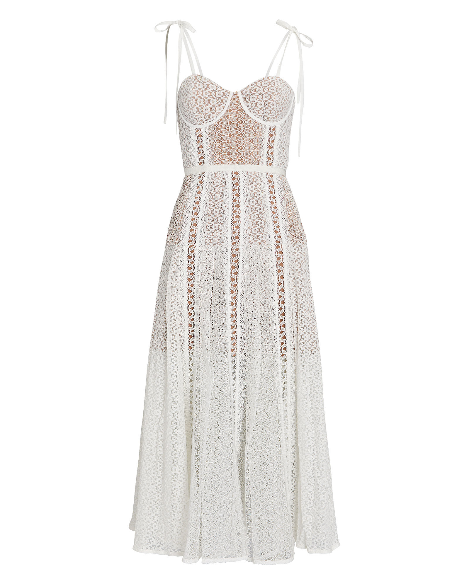 Lace Bustier Midi Dress, WHITE, hi-res