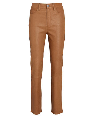 Le Sylvie Slender Leather Pants, BROWN, hi-res