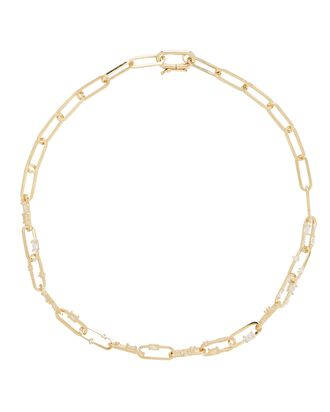 Capri Crystal Chain-Link Necklace, GOLD, hi-res