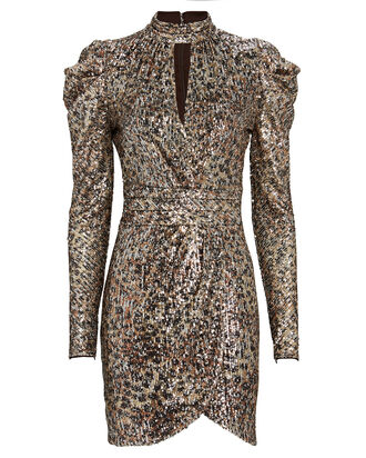 Mallory Sequinned Mini Dress, GOLD/BLACK/SILVER, hi-res
