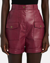 High-Rise Faux Leather Shorts, BURGUNDY, hi-res