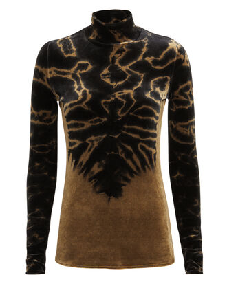 Tie-Dye Velvet Turtleneck, BROWN/BLACK, hi-res