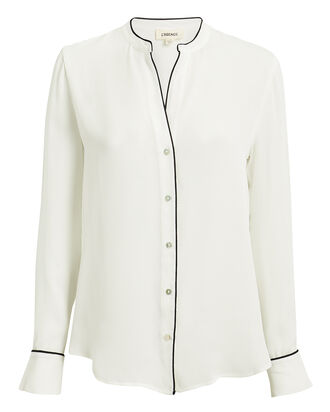 Tegan Silk Blouse, IVORY/BLACK, hi-res