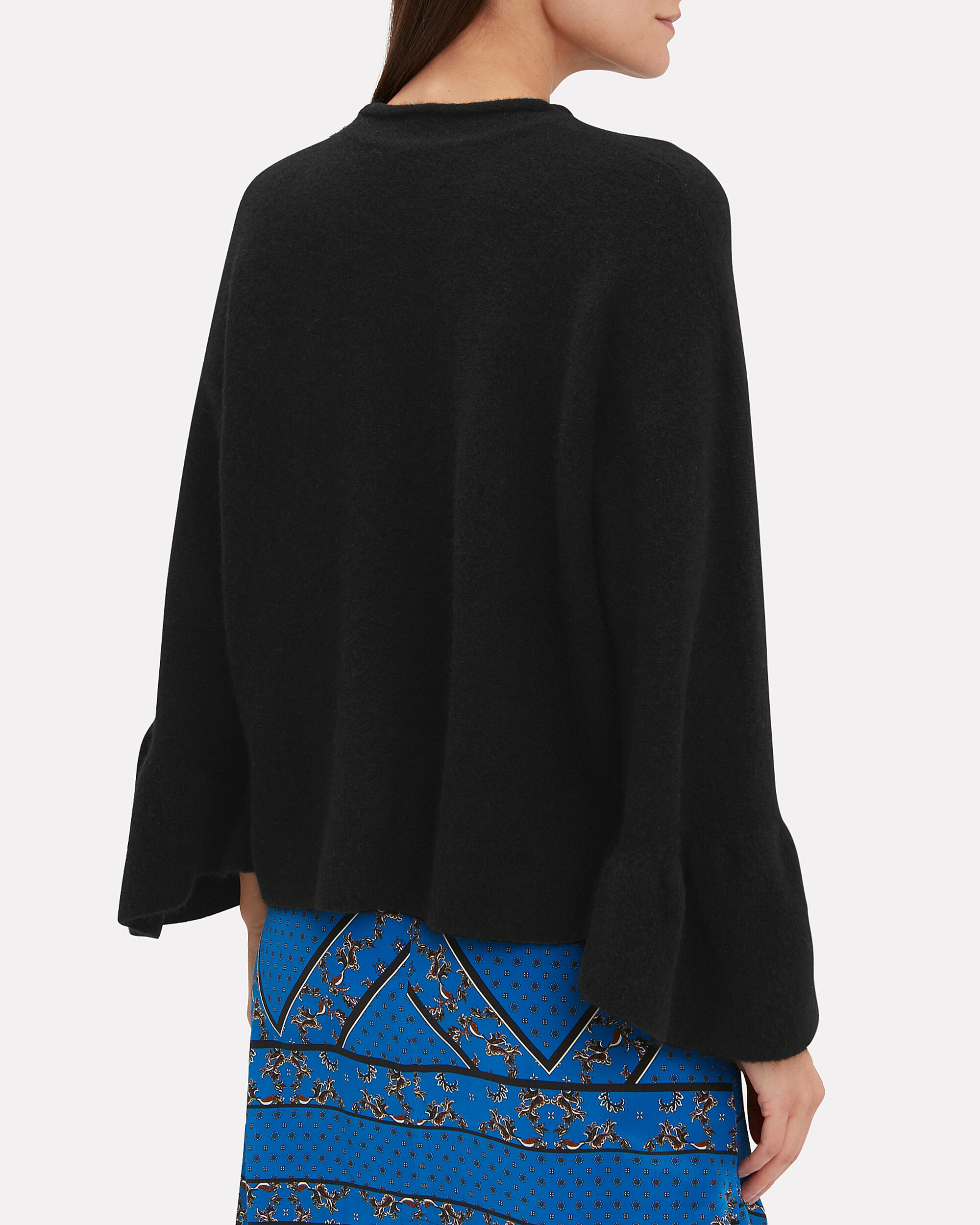 Ruffle Sleeve Black Sweater, BLACK, hi-res