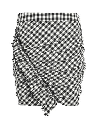 Gingham Mini Skirt, BLK/WHT, hi-res