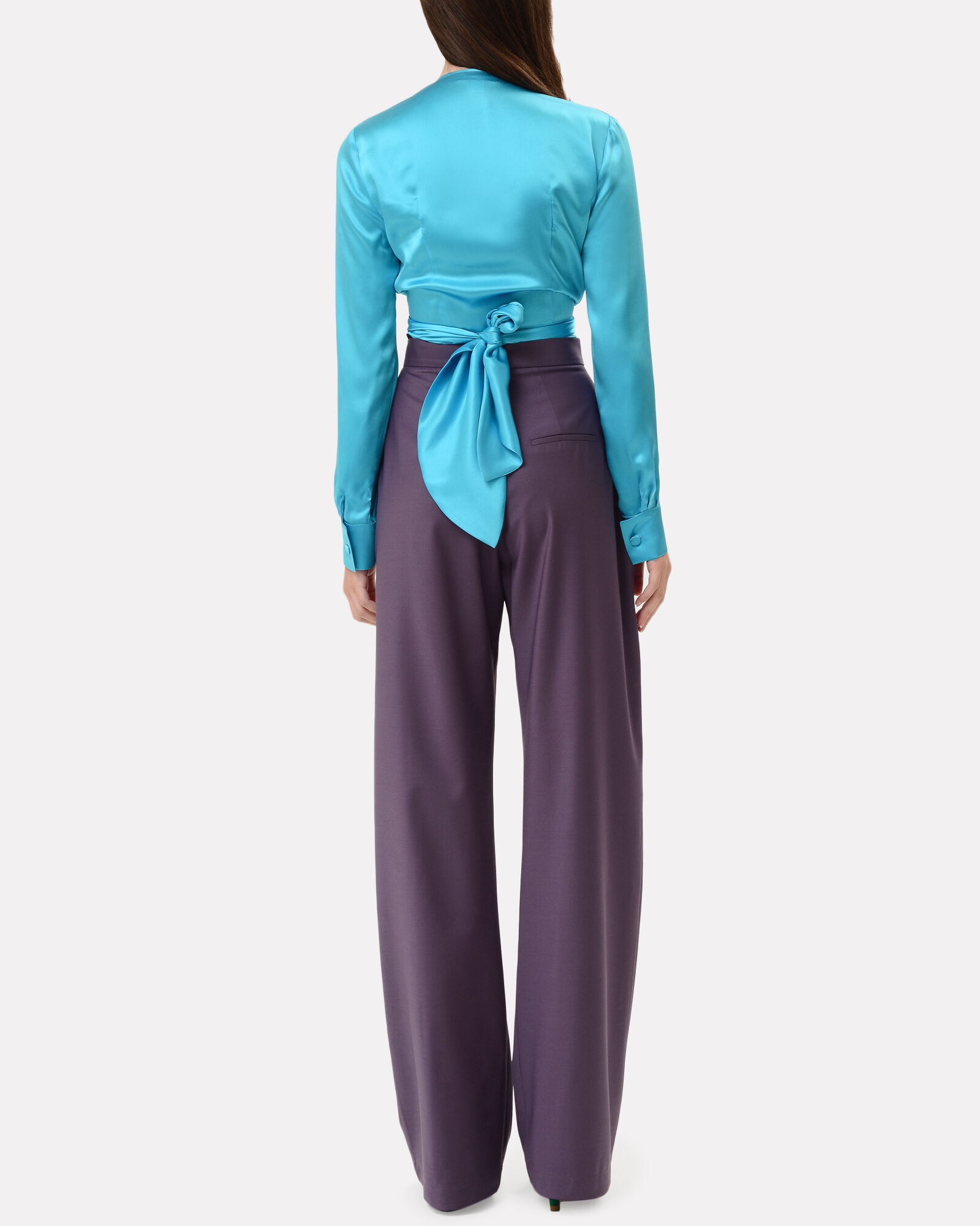 Cropped Silk Wrap Blouse, BLUE-LT, hi-res