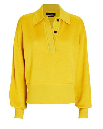 Heron Wool-Blend Polo Sweater, YELLOW, hi-res