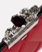 Skull Four Ring Quilted Clutch, RED, hi-res