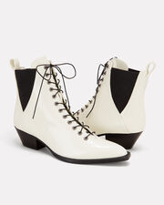 White Leather Booties, WHITE, hi-res
