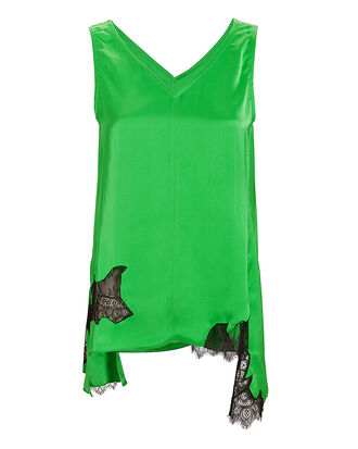 Deconstructed Satin Slip Tank, GREEN, hi-res