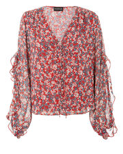 Floral Ruffle Blouse, RED, hi-res