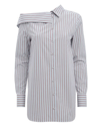 Striped Off Shoulder Shirt, WHITE, hi-res