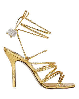 Eve Metallic Leather Sandals, GOLD, hi-res