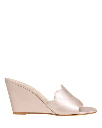 Scallop Strap Leather Wedges, ROSE GOLD, hi-res