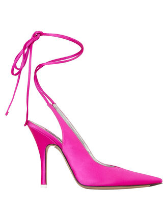 Monia Tie Satin Pumps, HOT PINK, hi-res