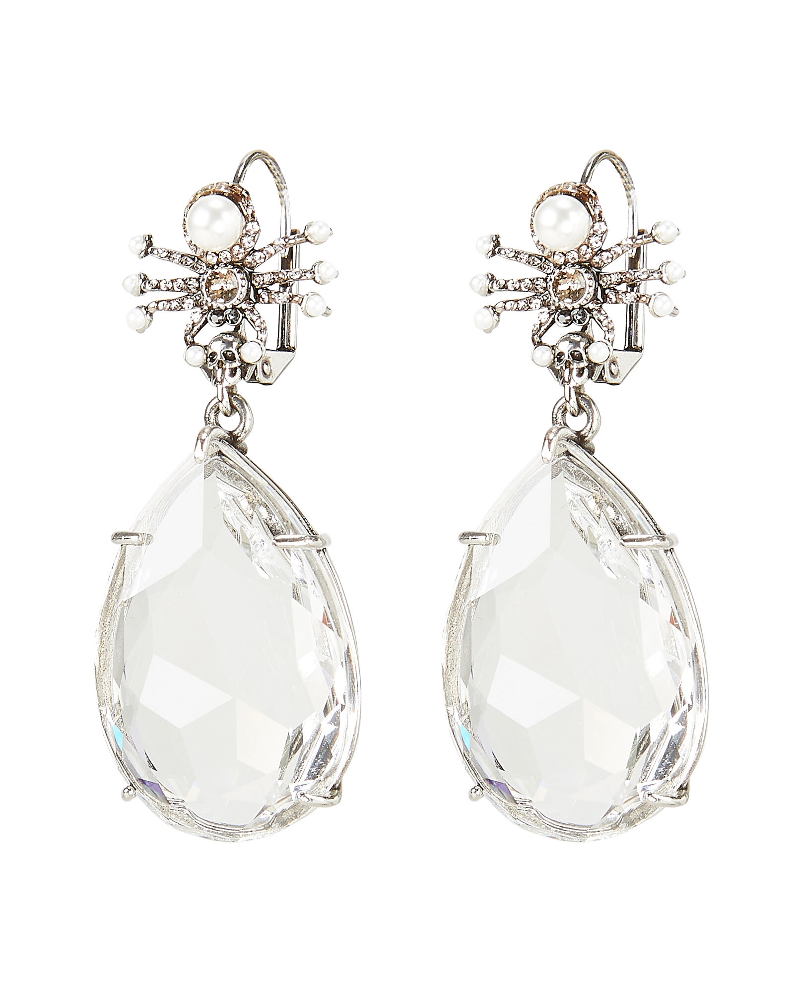 Spider Crystal Droplet Earrings, CLEAR, hi-res