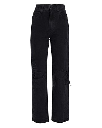 London High-Rise Straight-Leg Jeans, BLACK, hi-res