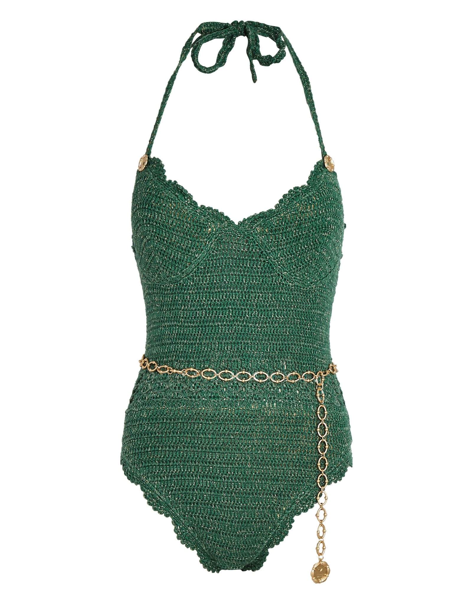 Tess Crochet One-Piece Swimsuit, GREEN, hi-res