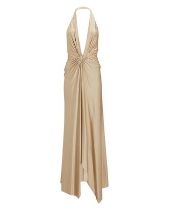 Plunging Halter Maxi Dress, GOLD, hi-res