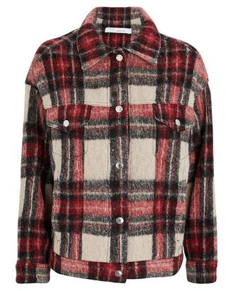 Bamba Plaid Flannel Wool-Blend Jacket, RED/BEIGE, hi-res