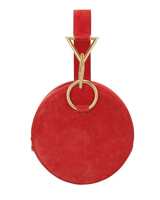 Azar Red Suede Clutch, RED, hi-res